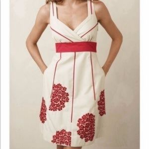 Anthro • Coral Way Floral Red Embroidered Dress